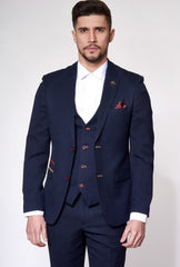 Jd4 Navy Contrast Trim Blazer By Marc Darcy