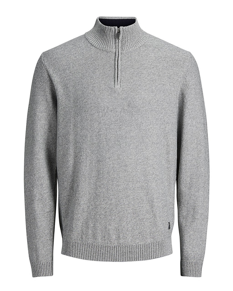 Jack Jones Premium JPRMontario Knitted Half Zip Jumper Light Grey