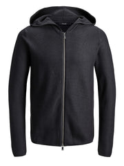 JPRMonk Black Knit Zip Hoodie by Jack & Jones Premium.