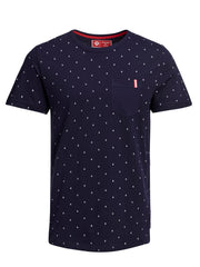 And Short Sleeve Printed Tee Maritime Blue