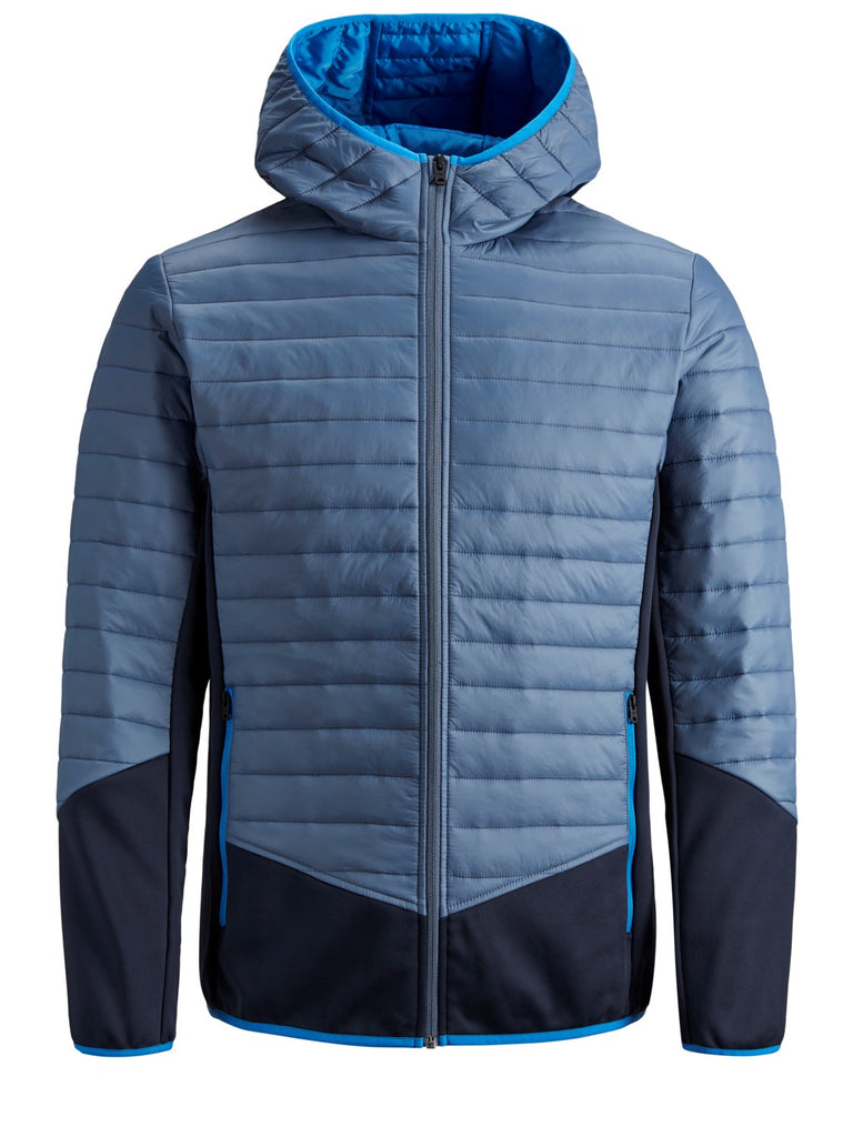 Hooded Bomber Multi Autumn Quilted  Jacket in China Blue