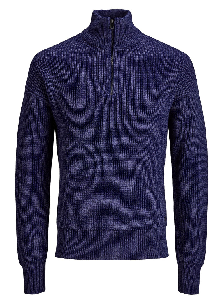 Austin Knit Half Zip Turtle Neck Blue Depths Jumper