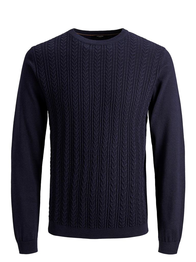 Maritime Blue Fast Cable Crew Neck Knit