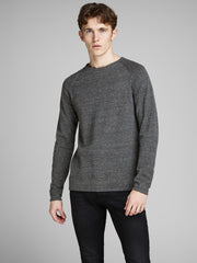 Union Crew Neck Long Sleeve Dark Grey Knit