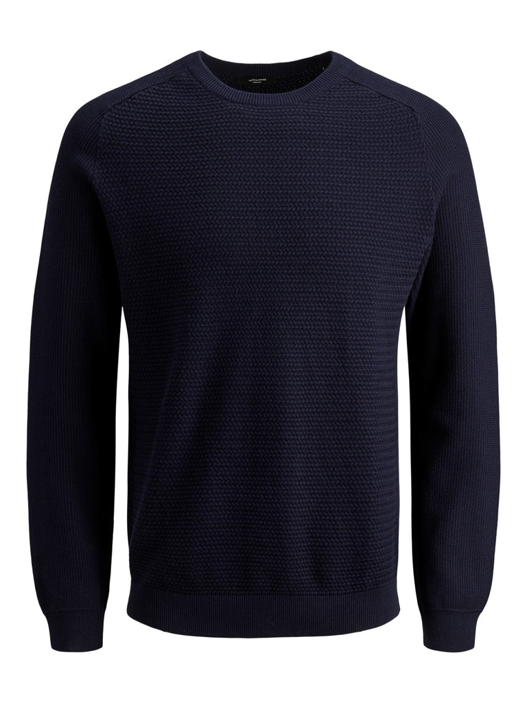 JPRPost Crew Neck Maritime Blue Knit by Jack & Jones Premium