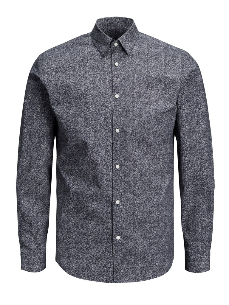 JPRPanama All Over Print Long Sleeve Slim Fit Shirt Dark Navy