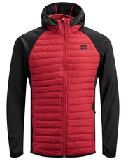 JCOMultiquilted Tango Red Jacket with Black Sleeves by Jack Jones