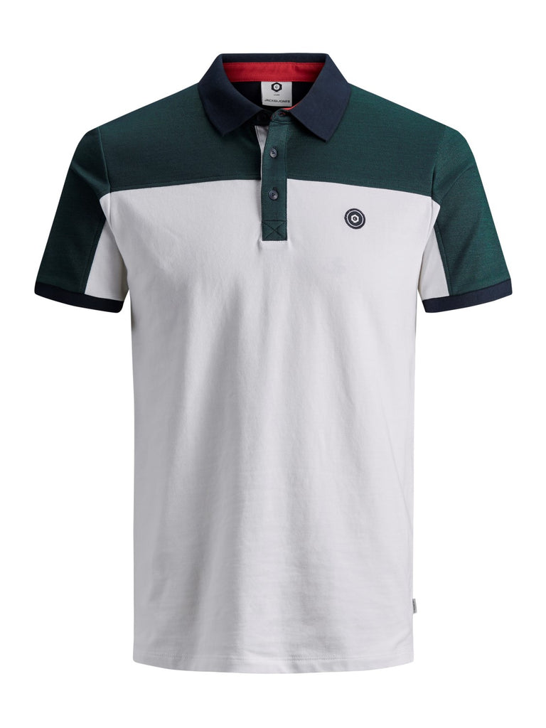 JCOHenry Short Sleeve Evergreen White Polo Shirt by Jack & Jones