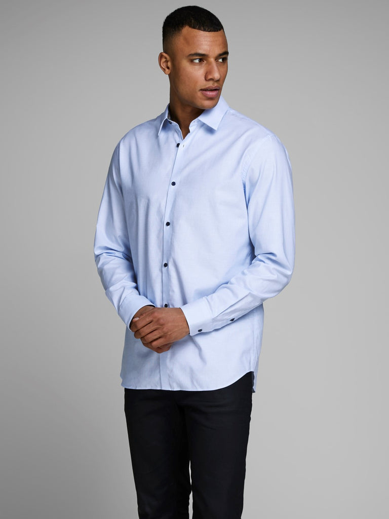 Santiago Long Sleeve Slim Fit Dobby Shirt Cashmere Blue
