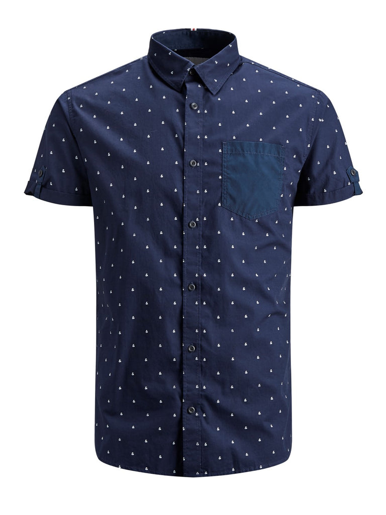 And Short Sleeve Printed Shirt Maritime Blue
