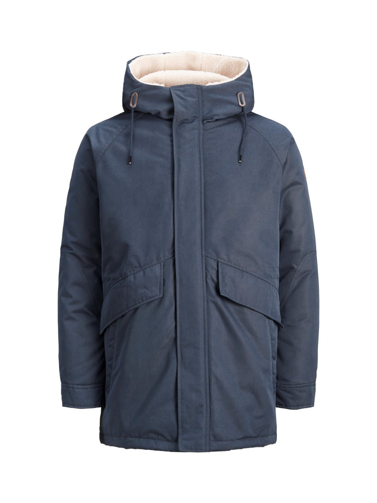Wetford Mens Navy Hooded Parka Jacket