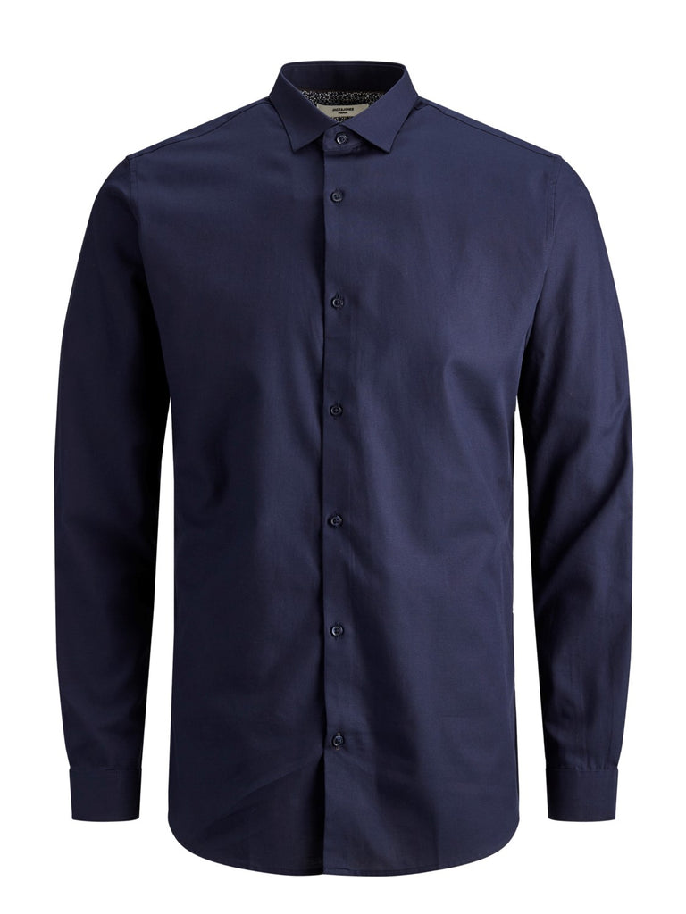 Victor Dobby Slim Fit Long Sleeve Navy Shirt