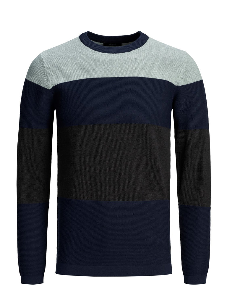 Freeze Crew Neck Stripe Knit in Maritime Blue