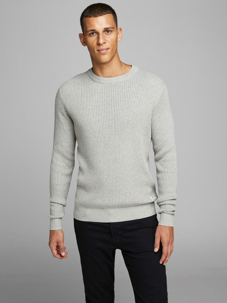 Blake Structured Crew Neck Light Grey Melange Knit