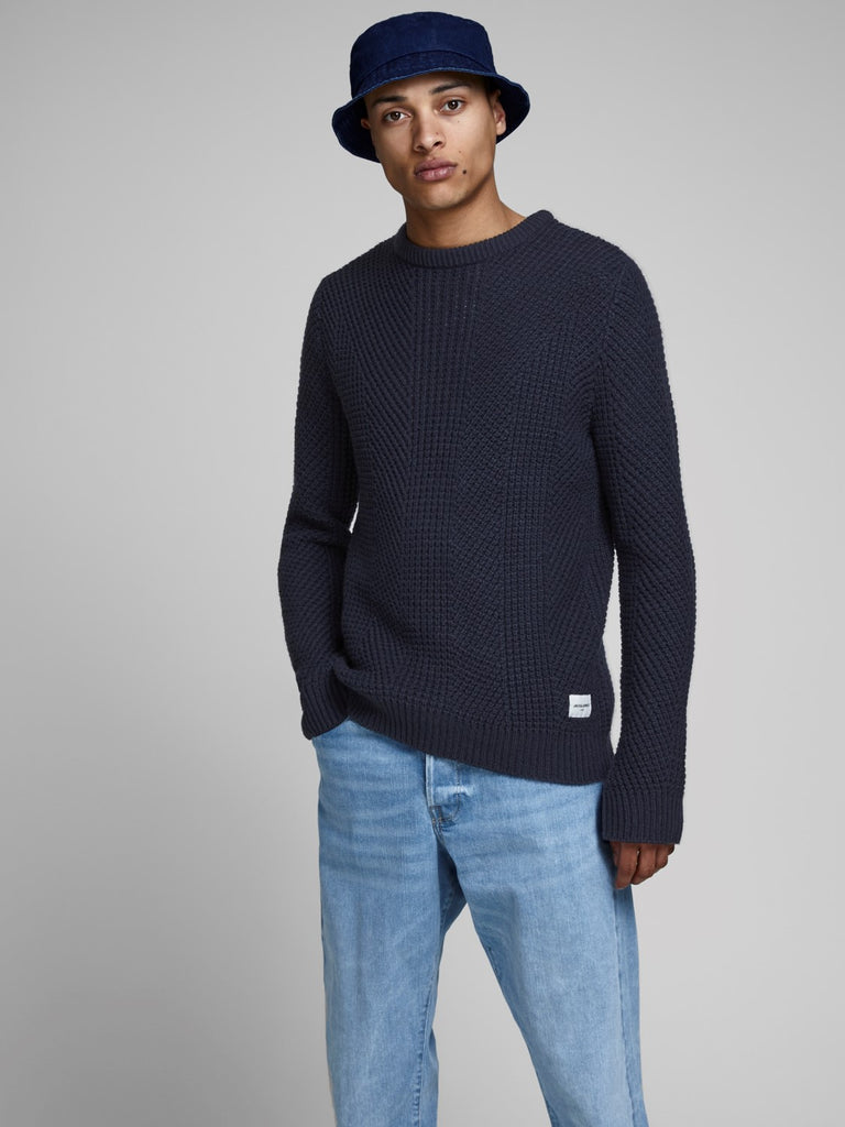 Stanford Black Navy Crew Neck Knit