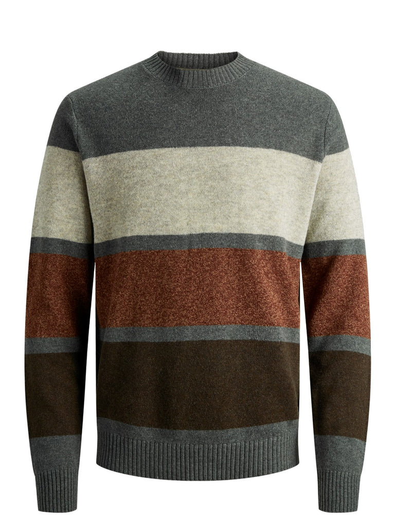 Herry Crew Neck Grey Melange Stripe Knit