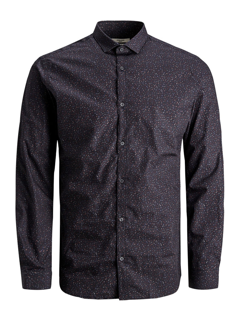 JPRBlackburn Black All Over Print Long Sleeve Shirt