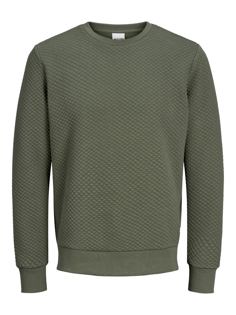 Button Crew Neck Forest Night Knit
