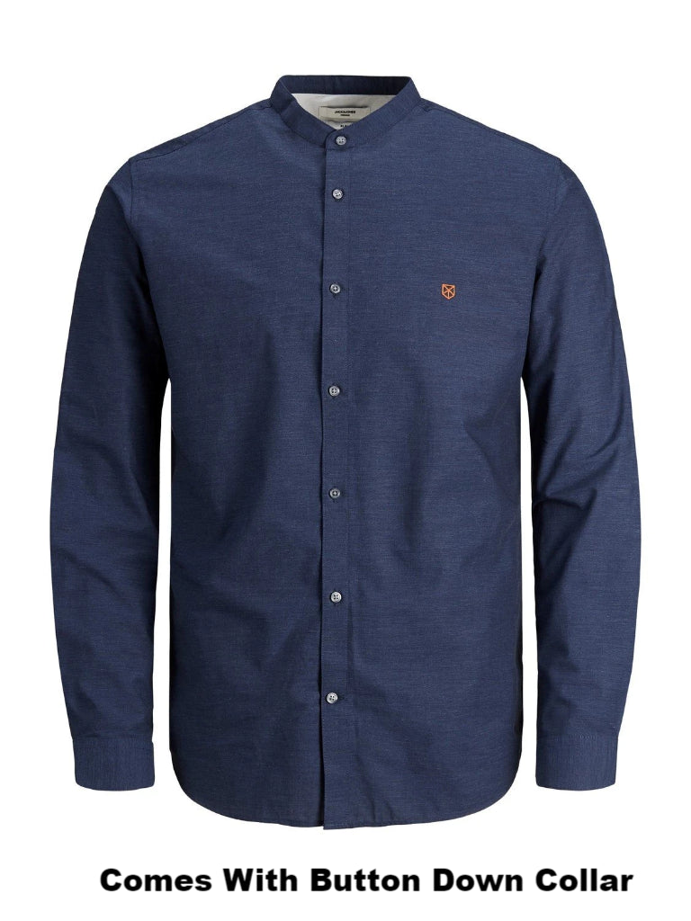 Blaspring Button Down Long Sleeve Navy Shirt