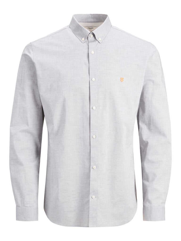 Blaspring Button Down Long Sleeve Light Grey Melange Shirt