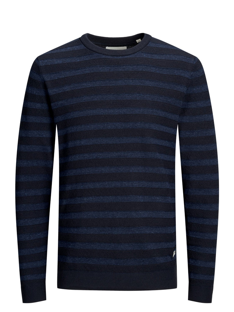 Jupiter Crew Neck Navy and Blue Stripe Knit