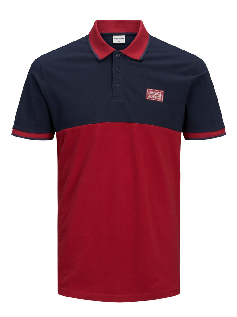 Zero Short Sleeve Rio Red and Navy Polo Shirt