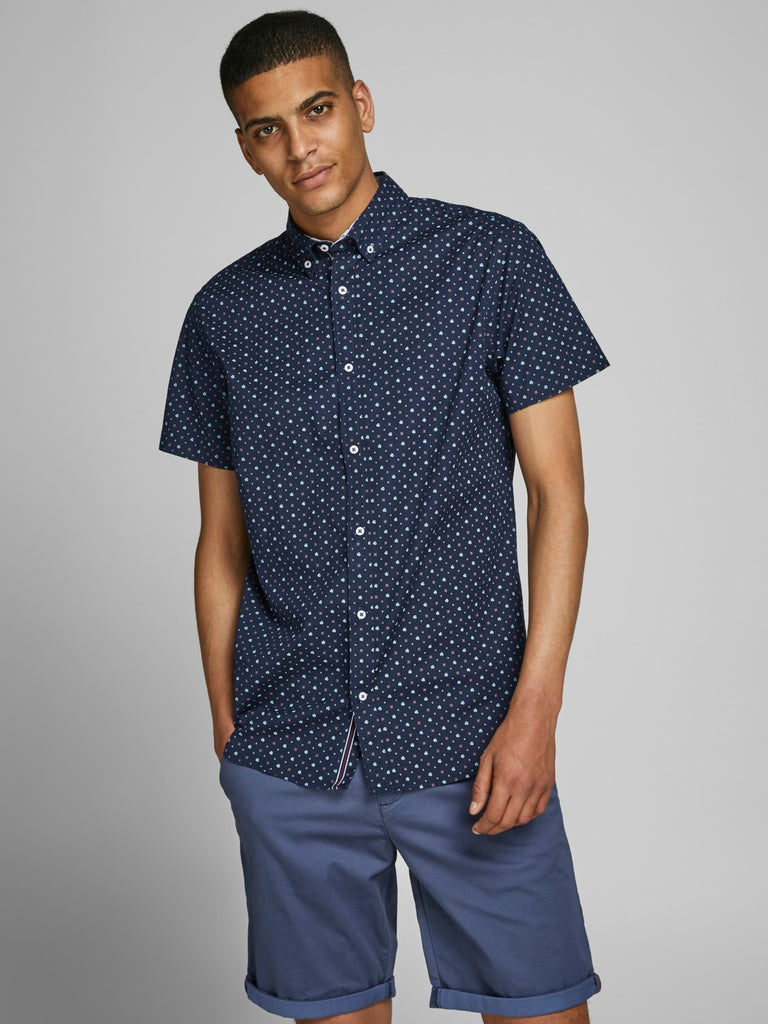 Peter Detail Navy Short Sleeve Button Down Shirt