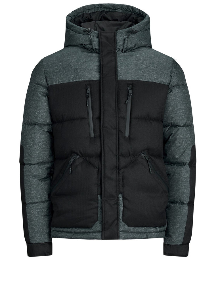 Men's Bolt Puffer Hooded Black Jacket