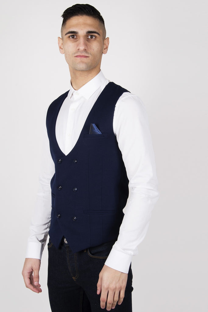Kelly Navy Double Breasted Waistcoat by Marc Darcy