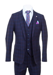 Wine Check Three Piece Suit