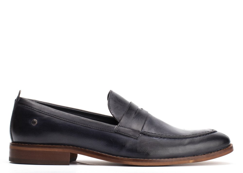 Lens Washed Navy Loafer by Base London