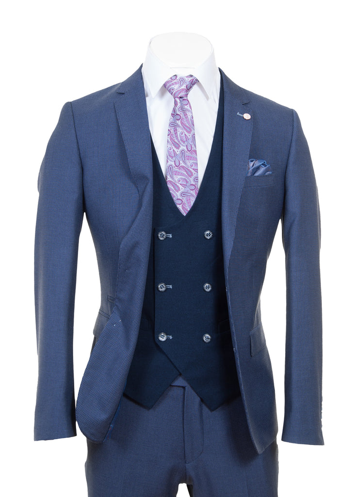 Navy Pattern Three Piece Suit