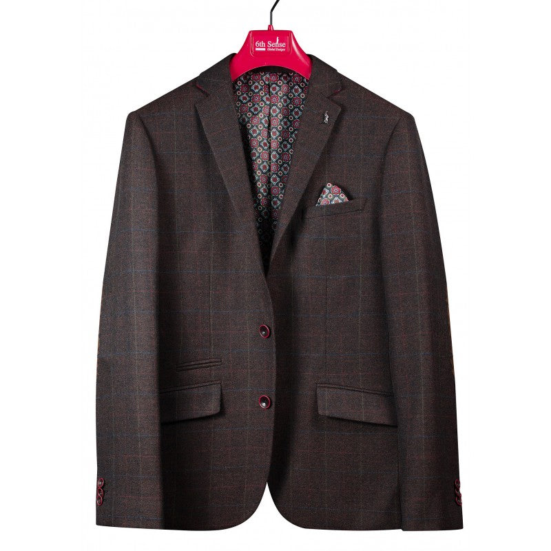 6th Sense brown check blazer for men