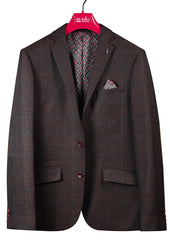London Brown Check Blazer by 6th Sense