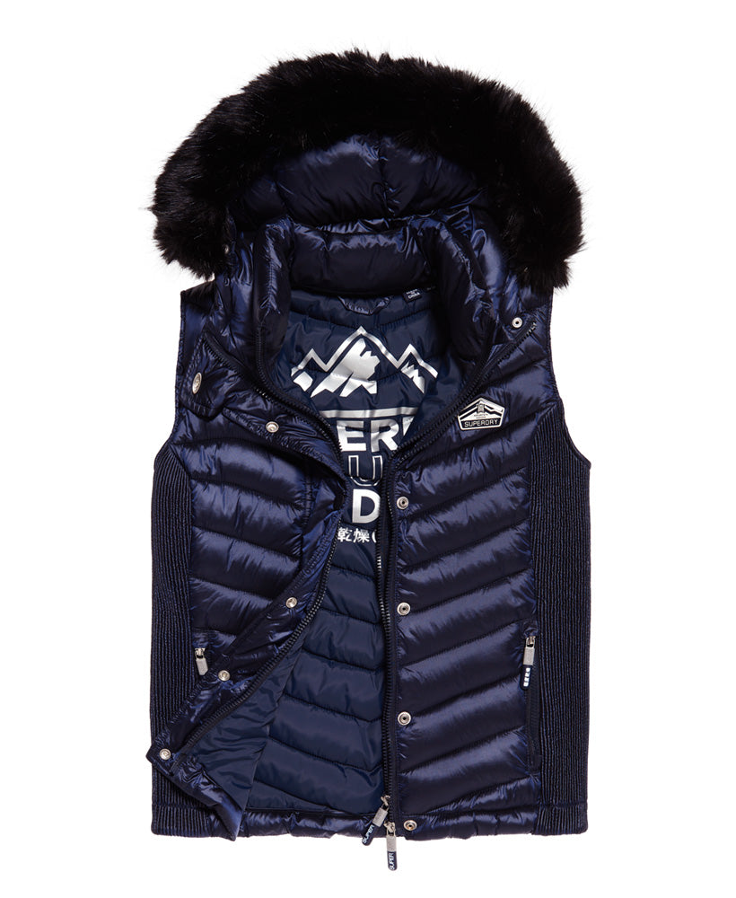 Luxe Chevron Double Zip Vest by Superdry Womens - Front