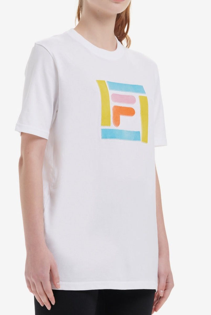 Women's Fila Logo T-Shirt constructed from a soft cotton fabric featuring ribbed collar FILA logo in a unique colourway on chest.