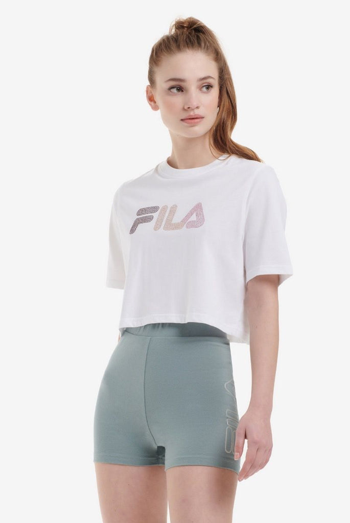 Nasiba Diamante  White Crop Women's  Tee by Fila