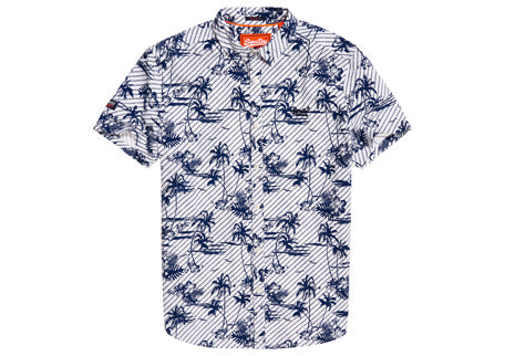 White Short Sleeve Shirt With Navy Palm Tree Print. M40103KT Y2N