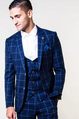 Magnum Navy Check Blazer By Marc Darcy