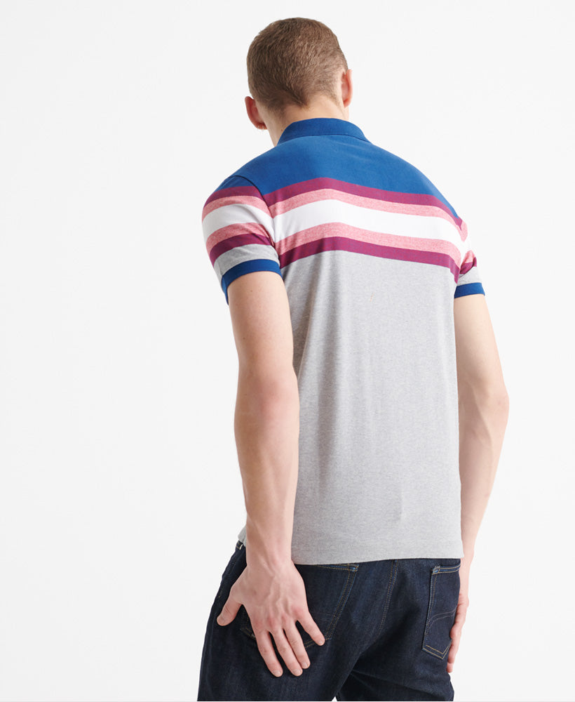 Organic Cotton Malibu Blue Stripe Polo Shirt_back