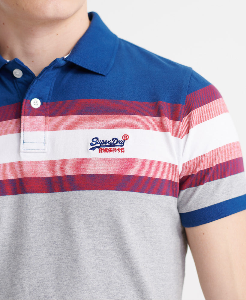 Organic Cotton Malibu Blue Stripe Polo Shirt-logo