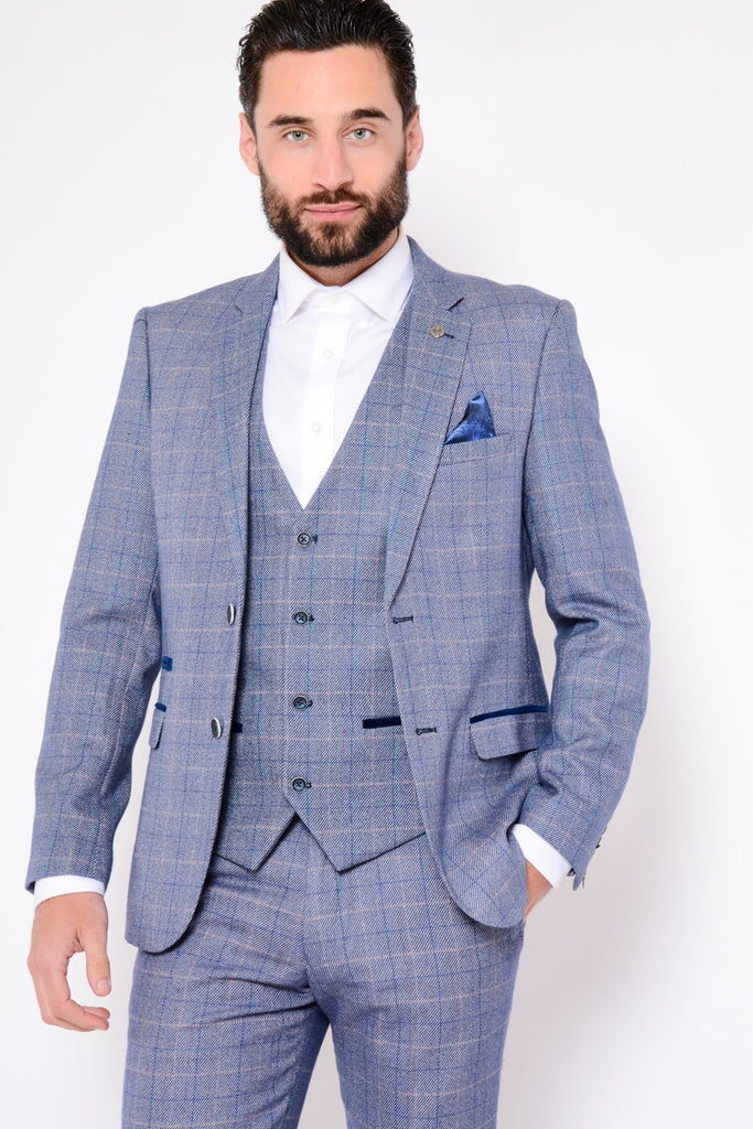 f7e78251928f Marc Darcy Harry Windowpane Check Blazer Blue