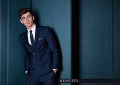 Martelli Navy Pinstripe 3 Piece Tapered Fit Suit By Benetti