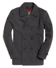 New Merchant Charcoal Pea Coat by Superdry