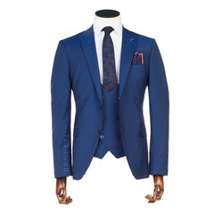 Messi Blue 3 Piece Tapered Fit Suit by Benetti