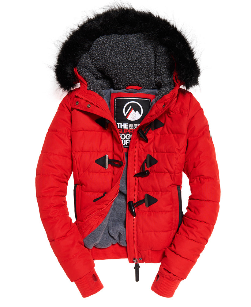 Microfibre Toggle Red Jacket by Superdry Womens