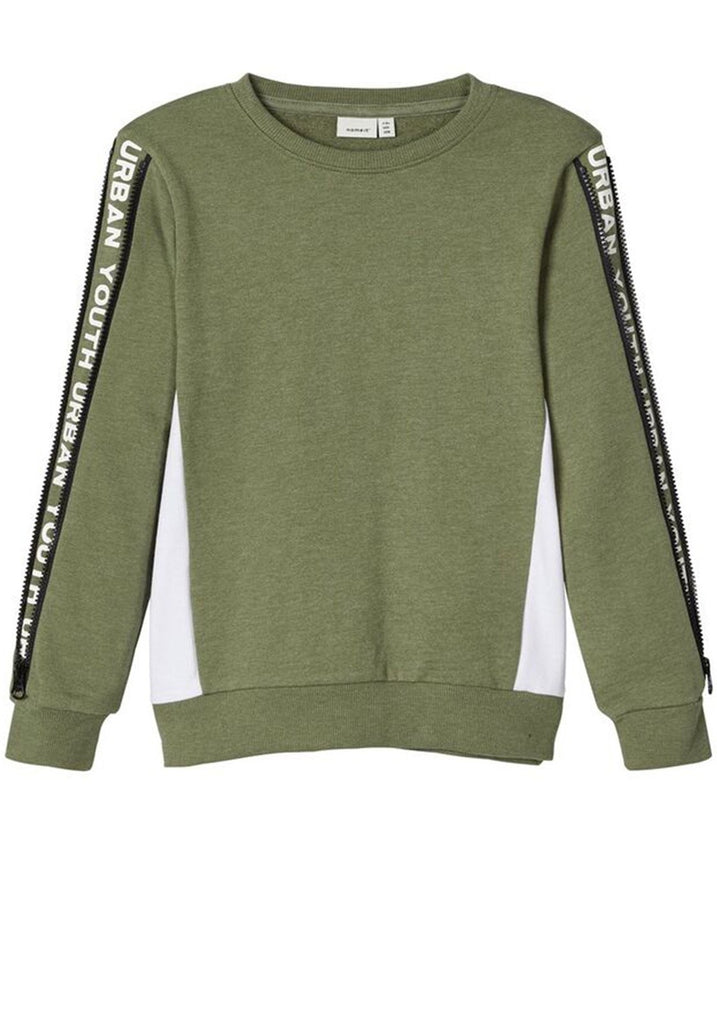Panel Stripe Green Sweatshirt