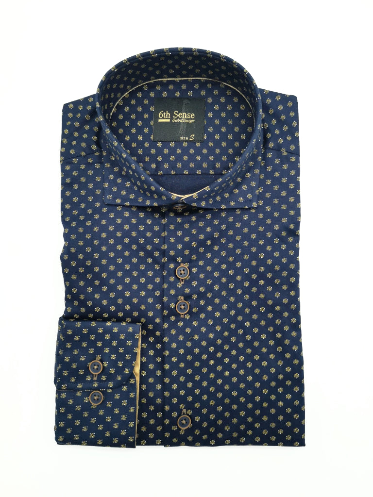 Navy Dot Print Shirt 39A