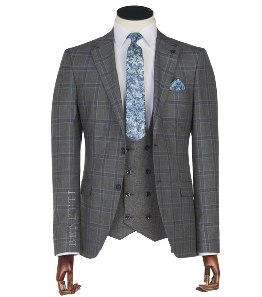 Neymar Grey 3 Piece Tapered Suit by Benetti