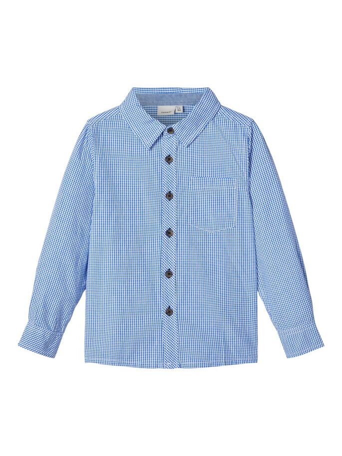 Checked Cotton Bale Kid Boy Long Sleeve Shirt